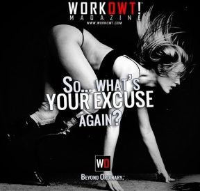 "Image of a female with an amputated leg in an advertisement that says, ""So...What's your excuse again?"""